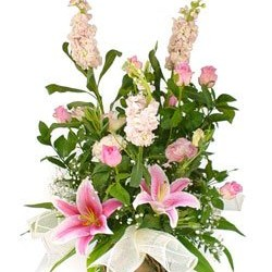 Pretty in Pink Flower Basket