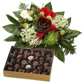 Holiday Greetings Bouquet and Chocolates